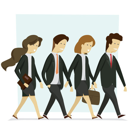 Group business people man and woman suit black walking to work. Vector illustration cartoon character.