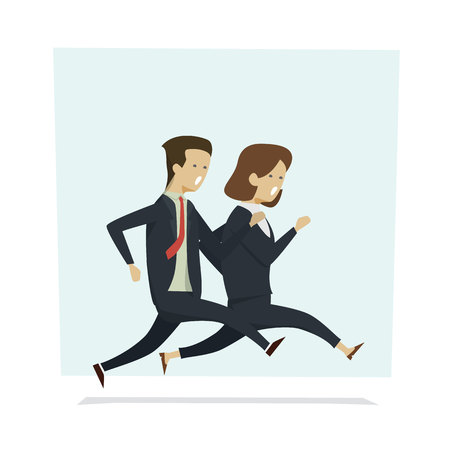 Business people man and woman running to work. Vector illustration cartoon character.
