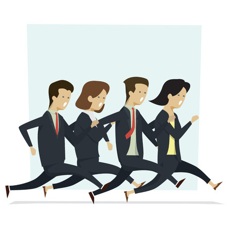 Group business people man and woman running to work. Vector illustration cartoon character.