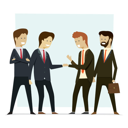 Group business people shaking hands partners. Vector illustration cartoon character.
