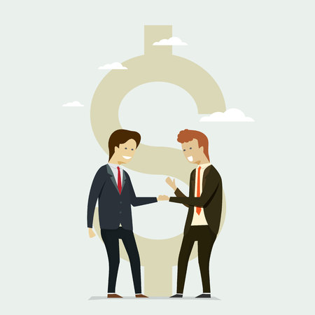Business people shaking hands partners wiht Flat dollar icon background. Vector illustration cartoon character.
