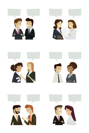 Businesspeople men and women talk icon with isolated background. illustration vector Ilustração