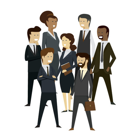 Group businesspeople men and women at teamwork stand with isolated background. illustration vector