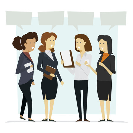 Group businesswoman stand talking with isolated background icon set. illustration vector Ilustração