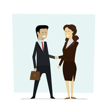 Businesspeople men and women shaking hands partners with isolated background. illustration vector Ilustração