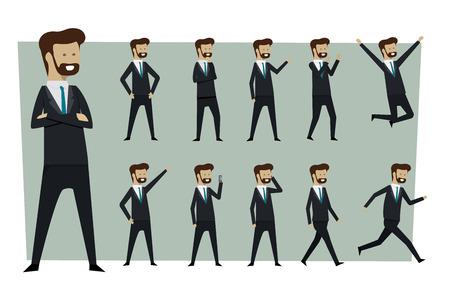 Set of businessman in suit and standing poses with isolated background. illustration vector
