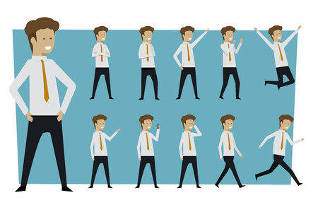 Set of businessman standing poses with isolated background. illustration vector
