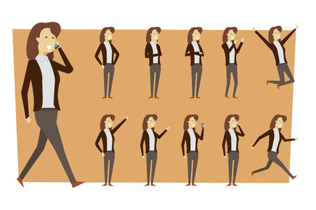 Set of businesswoman in suit and standing poses with isolated background. illustration vector