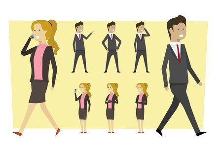 Business characters in suit and standing poses with isolated background. illustration vector