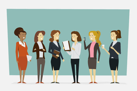Group working women in office clothes with standing poses. Vector illustration