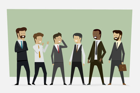 Group working businessmen in office clothes with standing poses. Vector illustration