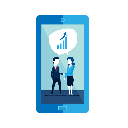 Businesspeople man and woman shaking hands partners in mobile Vector illustration Ilustração