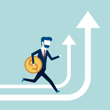 Business people with coin running on arrow go path to goal, concept Vector illustration Ilustração