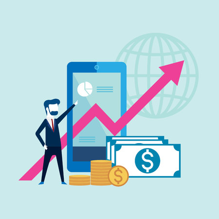 Business people with on arrow go path to goal on on smartphone and finance, concept Vector illustration