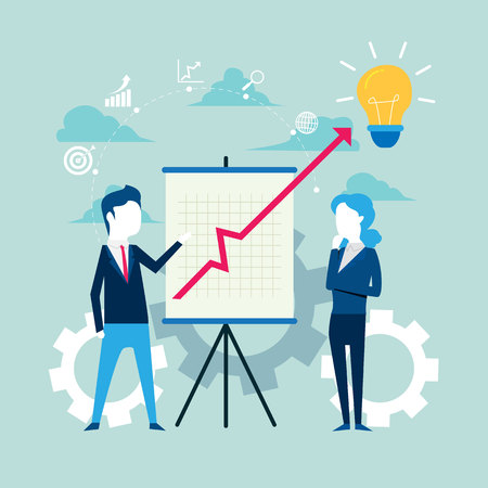Business people and partners with Whiteboard with growing bar graph, Vector illustration