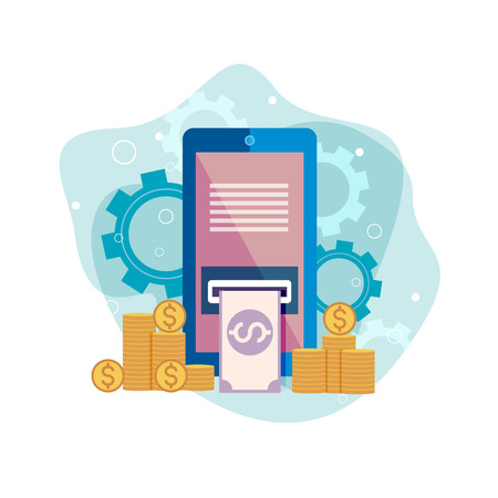 Finance and social media on smartphone, concept icon Vector illustration
