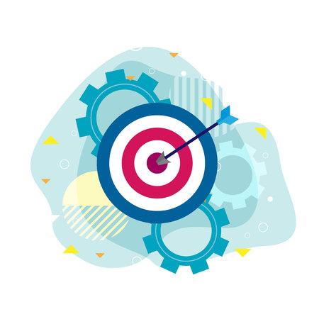 Flèche d'icône avec la réalisation de l'entreprise à l'objectif, illustration vectorielle de concept