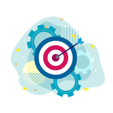 Freccia dell'icona con il raggiungimento dell'obiettivo, illustrazione di vettore di concetto