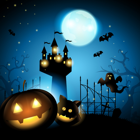 Halloween pumpkin with cat ghost and castle in cemetery on big moon dark blue background, vector illustration.