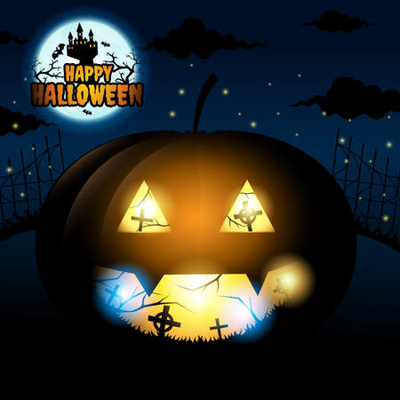 Happy halloween and bats fly around dark castle on blue Moon background, Big pumpkins in cemetery, vector illustration. Ilustração