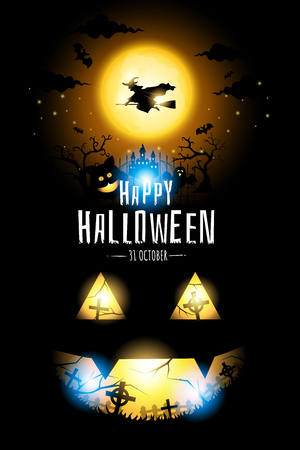 Halloween Witch fly on orange big moon, cat and ghost in cemetery dark background, poster vector illustration.