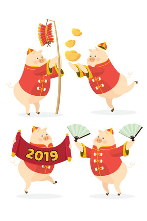 Chinese new year 2019 with set four pig cartoon character celebration on white background isolated. Fun animal illustration vector