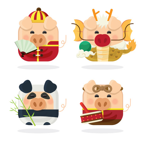 Icon set four pig and Chinese new year 2019 with cute piggy cartoon character on white background isolated.
