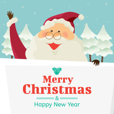 Santa claus with big signboard, Merry Christmas and happy new year, holiday greeting. cartoon character