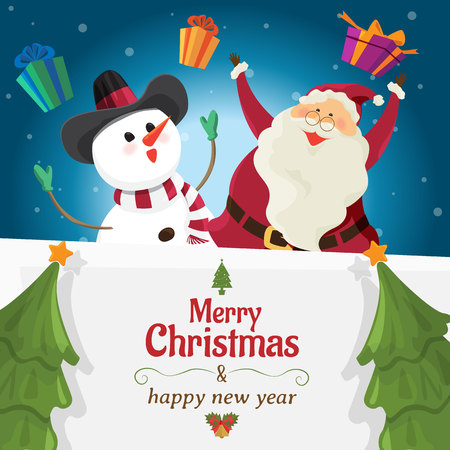 Santa claus and snowman with big signboard, Merry Christmas and happy new year, holiday greeting. cartoon character  Ilustração