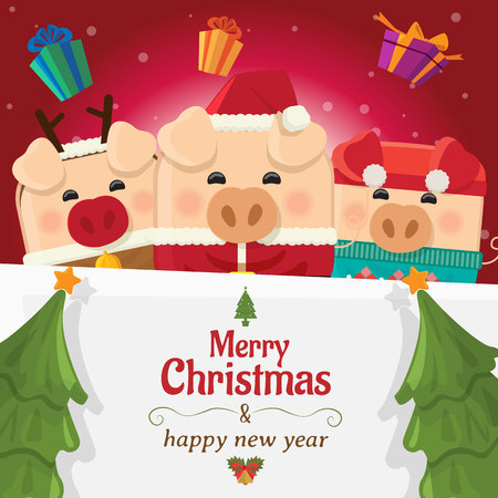 Piggy three with big signboard, Merry Christmas and happy new year, holiday greeting. pig cartoon character