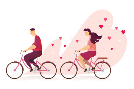 Happy couple lovely is riding a bicycle in Valentine's day festival and heart pink background. Vector illustration Imagens - 126499288