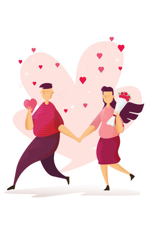 Happy couples Lovely is holding roses in Valentine's day festival and heart pink background. Vector illustration Imagens - 126499290