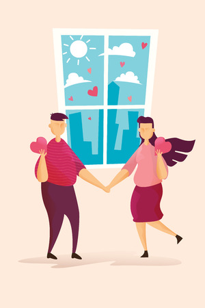 Happy couples on Lovely on window in Valentines day festival and pink background. Vector illustration