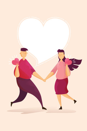 Happy couples on Lovely in Valentines day festival and pink background. Vector illustration
