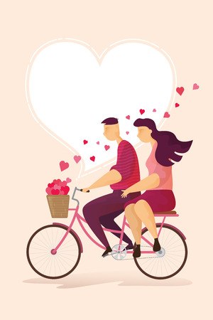 Happy couple lovely is riding a bicycle in Valentine's day festival and heart pink background. Vector illustration Imagens - 126499295