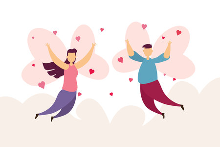 Happy couples love a wing fly on sky in Valentine's day festival and pink background. Vector illustration Imagens - 126478131
