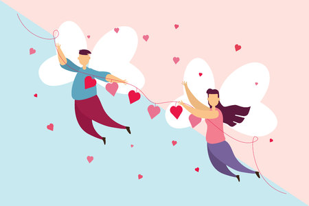 Happy couples love a wing fly on sky in Valentines day festival and pink blue background. Vector illustration