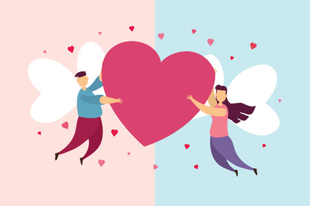 Happy couples love a wing fly on sky and Hold the heart in Valentines day festival and pink background. Vector illustration Ilustração