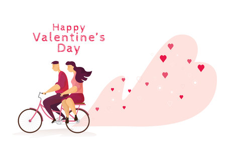 Happy couple lovely is riding a bicycle in Valentines day festival and heart pink background. Vector illustration
