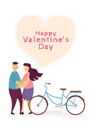 Happy couple lovely hug and bicycle in Valentines day festival. Vector illustration Ilustração