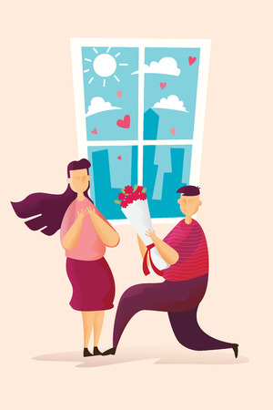 Happy couples Lovely man is holding roses give women in Valentines day festival and heart pink background. Vector illustration