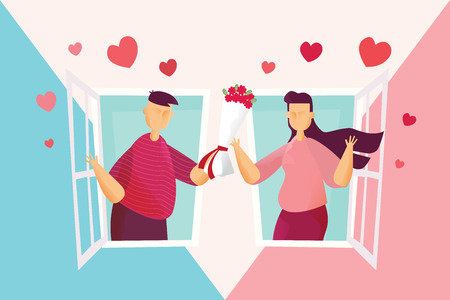 Happy couples Lovely man is holding roses give women on window in Valentines day festival and heart pink blue background. Vector illustration