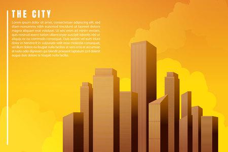City landscape architecture buildings skyscrapers sunset. illustration Vector