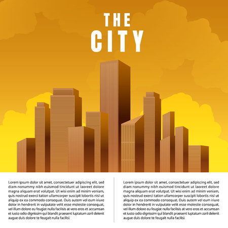 City downtown skyscrapers landscape architecture buildings sunset. illustration Vector Imagens - 124652042