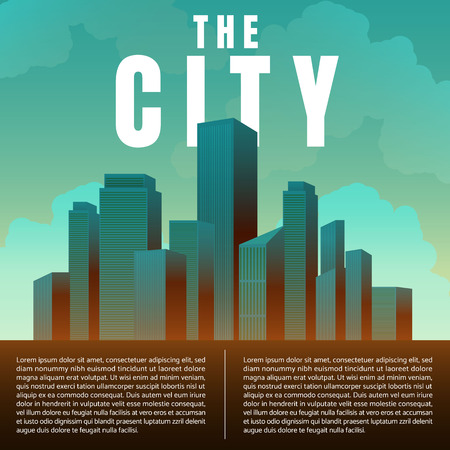 City downtown skyscrapers landscape architecture buildings retro poster. illustration Vector