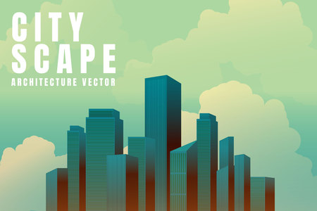 City downtown Skyline landscape with skyscrapers architecture buildings retro poster. illustration Vector