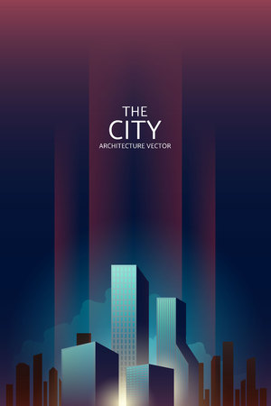 City downtown Skyline landscape with skyscrapers architecture buildings retro poster. illustration Vector Imagens - 124652047