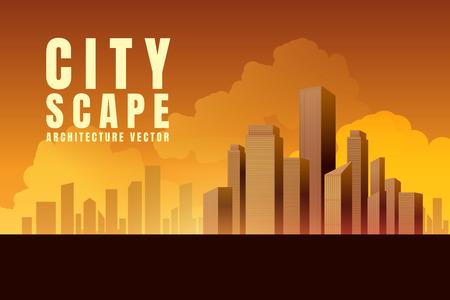 City downtown skyscrapers landscape architecture buildings sunset. illustration Vector