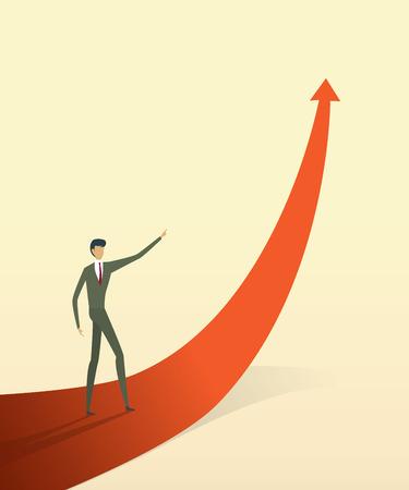 La gente di affari con sulla freccia va verso l'obiettivo o l'obiettivo, simbolo del concetto di crescita Illustrazione vettoriale