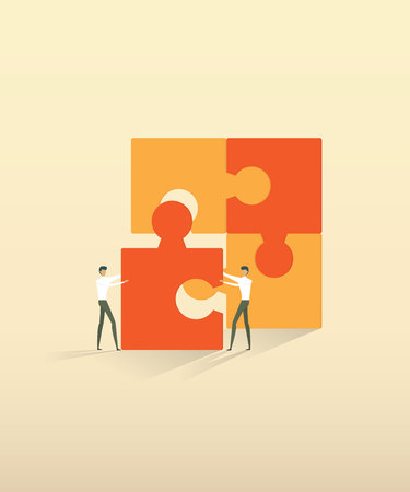 Business teamwork people partnership connecting puzzle elements.  vector illustration. Imagens - 126255070